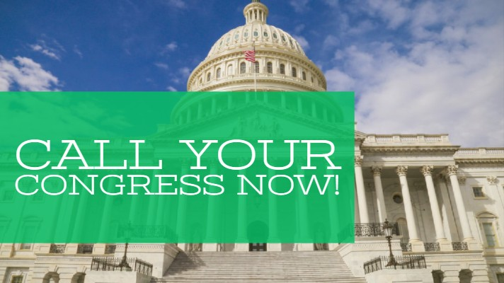 Capitol building Washington DC with a message - radiologists need to call congress now|take action stamp