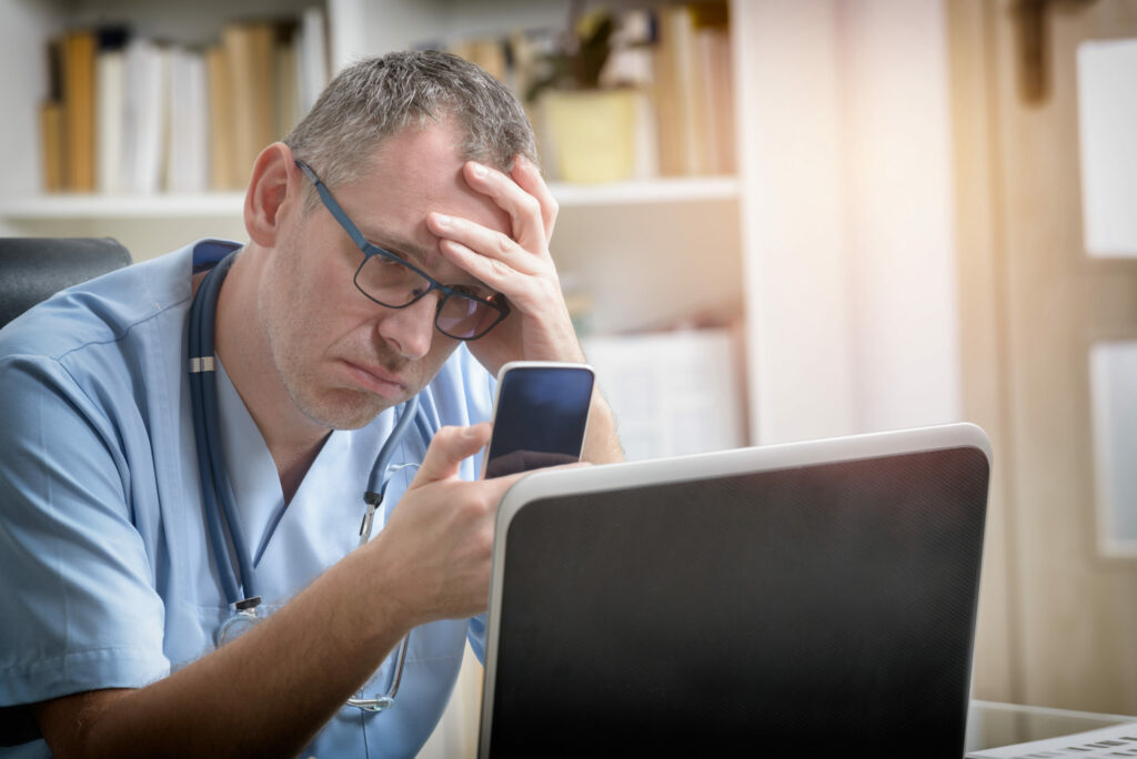 Dhruv Chopra discusses physicians' burnout as a consequence of loading them with unnecessary clerical work and revenue management.|Dhruv Chopra discusses physicians' burnout as a consequence of loading them with unnecessary clerical work and revenue management.